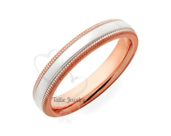 Platinum & 14K Solid Rose Gold Wedding Band, Platinum Wedding Ring, Milgrain Shiny Finish Plain Wedding Bands, Two Tone Gold Wedding Band