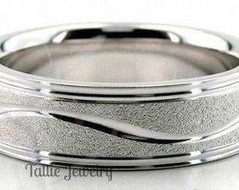 Platinum Wedding Band,  Platinum Wedding Ring , 6mm Stone Finish 950 Platinum Band, Platinum Mens Wedding Rings