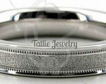 Mens Platinum Wedding Bands , Platinum Mens Wedding Rings , 4mm Milgrain Stone Finish Platinum Wedding Ring, 950 Platinum Wedding Band