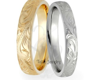 Hand Engraved Gold Wedding Rings,Hand Engraved Gold Wedding Bands,His & Hers Wedding Rings,Matching Wedding Bands,14K White and Yellow Gold