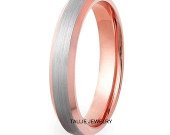 Platinum & 14K Solid Rose Gold Mens Wedding Band, Satin Finish Beveled Edge Platinum Mens Wedding Ring, 950 Platinum Band, Platinum Ring