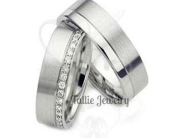 His & Hers Wedding Bands, Matching Wedding Rings Set, 10K 14K 18K Solid White Gold Wedding Bands, Diamond Eternity Wedding Rings