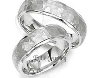Platinum Matching Wedding Bands, Hammered Finish Platinum Wedding Rings, His and Hers Wedding Bands, Platinum Matching Wedding Rings Set