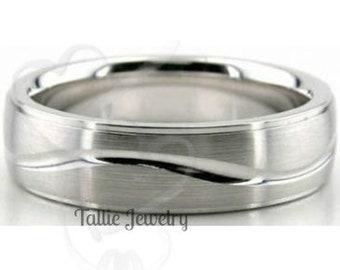 950 Platinum Wedding Band, Platinum Mens Wedding Ring, 6mm Satin Finish Platinum Mens Wedding Bands