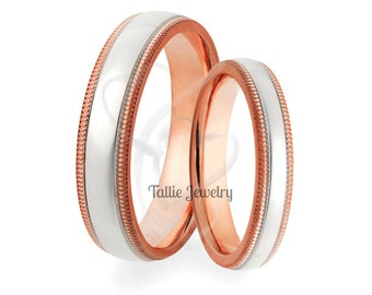 Platinum and 14K Rose Gold Wedding Bands, Matching Wedding Rings, His & Hers Wedding Bands, Platinum Wedding Rings, Platinum Wedding Bands