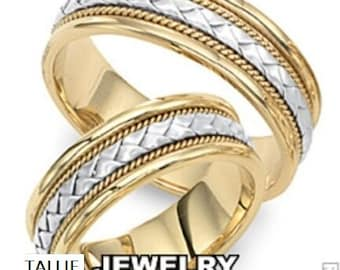 His & Hers Wedding Bands, Matching Wedding Rings Set, Two Tone Gold Wedding Bands, 14K White and Yellow Gold Handmade Braided Wedding Rings