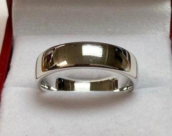 Platinum Wedding Band,  Platinum Wedding Ring, 5mm Shiny Finish Plain Dome Mens Wedding Bands Mens Wedding Rings, 950 Platinum Band