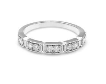 Womens Diamond Ring / Diamond Wedding Band / Diamond Eternity Wedding Ring / 14K Solid White Gold Diamond Wedding Bands / Anniversary Ring