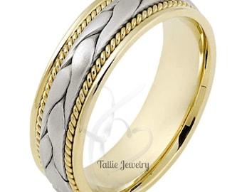 Custom Made for Emily 14K White and Rose Gold Handmade Rope Braided Mens Wedding Ring 7mm