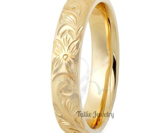 4mm 10K 14K 18K Solid Yellow Gold Hand Engraved Mens Wedding Ring,  Hand Engraved Mens Wedding Band,  His & Hers Wedding Rings