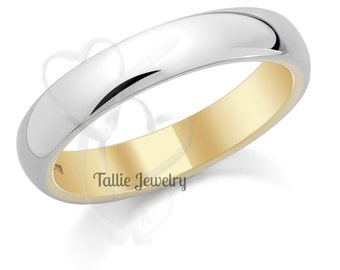 14K White and Yellow Gold Mens Wedding Band, Shiny Finish Mens Wedding Ring, Two Tone Gold Wedding Band, Comfort Fit Dome Gold Wedding Band