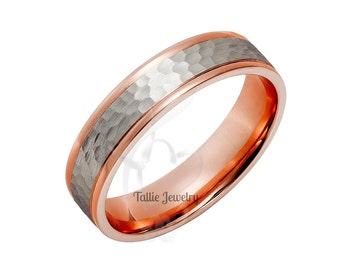Hammered Finish Two Tone Gold Wedding Rings, 14K White and Rose Gold Wedding Bands, His & Hers Wedding Rings, Two Tone Gold Wedding Bands