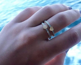 14K Solid Gold Heart Ring, Turquoise Heart Ring,  Minimalist Heart Ring,  Stacking Ring,  Dainty Heart Ring, Gold Ring