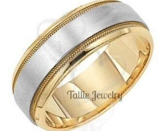 Two Tone Gold Wedding Bands, 7mm,10K,14K,18K White and Yellow Gold Mens Wedding Rings, Two Tone Gold Mens Wedding Bands, Mens Wedding Rings