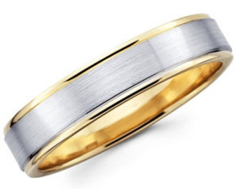 5mm 10K 14K 18K Solid White and Yellow Gold Mens Womens Wedding Ring, Two Tone Gold Wedding Bands