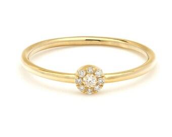 14K Solid Yellow Gold Diamond Wedding Band /  Womens Diamond Wedding Ring / Halo Diamond Ring /  Engagement Rings/ Minimalist Diamond Ring