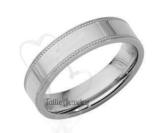 Platinum Mens Wedding Band, Platinum Mens Wedding Ring, Polished Comfort Fit 5mm Flat Milgrain Platinum Wedding Bands