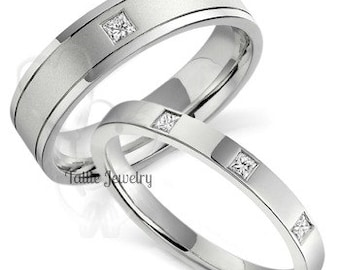 Platinum His & Hers Wedding Bands, Matching Wedding Rings, Platinum Diamond Wedding Bands, His and Hers Wedding Rings,Platinum Wedding Bands