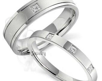 His & Hers Wedding Rings, Matching Wedding Bands, Diamond Eternity Wedding Rings, 10K 14K 18K Solid White Gold Diamond Wedding Bands