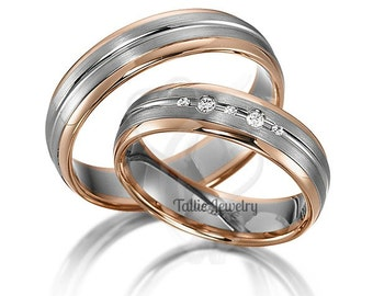 His & Hers Wedding Rings, Matching Wedding Bands, Diamond Wedding Rings, 14K White and Rose Gold Wedding Bands, Two Tone Gold Wedding Bands
