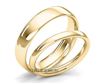 His & Hers Wedding Rings, Matching Wedding Bands, Shiny Finish Plain Wedding Rings, 10K 14K 18K Solid Yellow Gold Wedding Bands