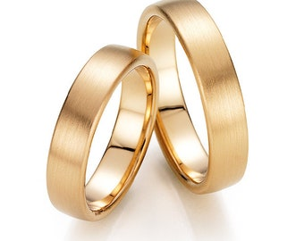 His & Hers Wedding Bands, Matching Wedding Rings Set, 5mm 10K 14K 18K Solid Yellow Gold Wedding Bands