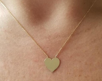 14K Gold Heart Necklace, Heart Necklace , Engravable Heart Necklace,  Dainty Heart Necklace, 14K Solid Yellow Gold Heart Necklace