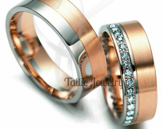 Featured listing image: His & Hers Wedding Rings, Matching Wedding Bands, 14K White and Rose Gold Mens and Womens Wedding Bands, Diamond Eternity Wedding Rings
