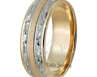 Hand Engraved Mens Wedding Band, Hand Engraved Mens Wedding Ring, Two Tone Gold Wedding Bands, 8mm 14K White & Yellow Gold Wedding Rings