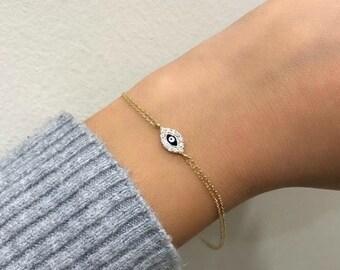 Evil Eye Bracelet, 14K Solid Yellow Gold Evil Eye Bracelet, Dainty Evil Eye Bracelet, Gold Evil Eye Bracelet, 14K Gold Evil Eye Bracelet