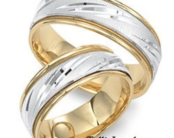 His & Hers Wedding Bands, Matching Wedding Rings Set, Two Tone Gold Wedding Bands, 10K  14K 18K Solid White and Yellow Gold Wedding Bands