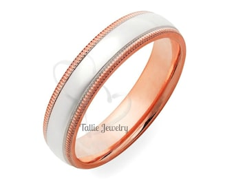 Two Tone Wedding Bands, 5mm 10K 14K 18K Solid White and Rose Gold Shiny Finish Mens  Womens Wedding Rings, Two Tone Gold Wedding Bands