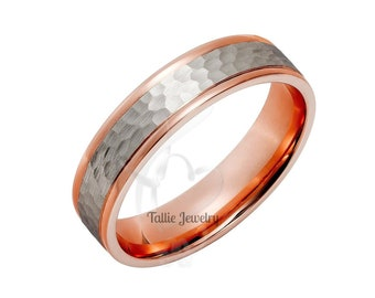 Platinum Hammered Finish Mens Wedding Bands,  Platinum Mens Wedding Rings ,Platinum & 14K Rose Solid Gold Wedding Bands