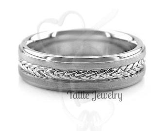 Platinum Mens Wedding Band, Platinum Mens Wedding Ring, Handmade Braided Wedding Bands