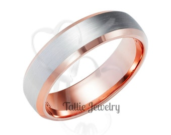 Two Tone Wedding Bands, 5mm 14K White and Rose Gold Satin Finish Beveled Edge Mens and Womens Wedding Rings, Two Tone Gold Wedding Bands