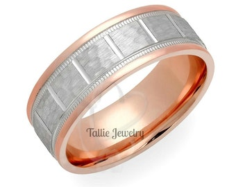 Two Tone Mens Wedding Ring, Hammered Finish Mens Wedding Band, 7mm 10K 14K Solid White and Rose Gold Wedding Rings ,His & Hers Wedding Bands