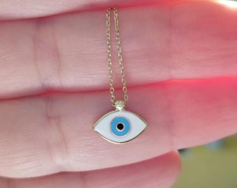 Evil Eye Necklace, 14K Solid Yellow Gold Evil Eye Necklace, Dainty Evil Eye Necklace, Good Luck Necklace, Protection Necklace, Graduation