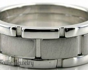Platinum Mens Wedding Bands,  8mm Brushed Finish Platinum Mens Wedding Rings