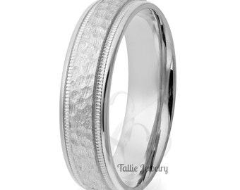 950 Platinum  Band,  6mm Milgrain Hammered Finish Platinum Mens Wedding Rings , Platinum Mens Wedding Bands