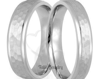 Hammered Finish Platinum Wedding Rings, Platinum Wedding Bands, His & Hers Wedding Rings, Matching Wedding Bands, 950 Platinum Rings