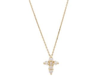 Diamond Cross Necklace, 14K Solid Gold Diamond Cross Necklace, Small Cross Necklace, Dainty Cross Necklace