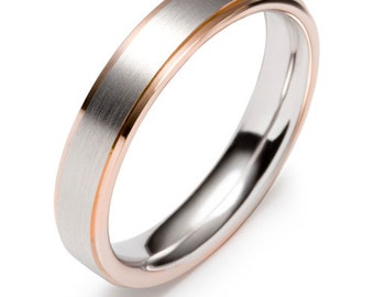 Two Tone Wedding Bands, 5mm 10K 14K 18K Solid White and Rose Gold Satin Finish Mens and Womens Wedding Rings, Two Tone Gold Wedding Bands