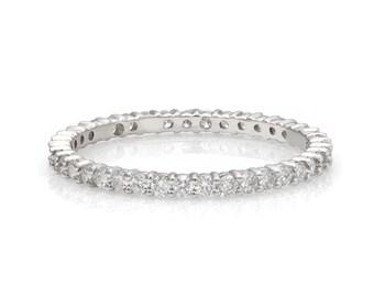 0.60 Carats Diamond Eternity Rings, 1.7mm 14K White Gold Diamond Rings  Womens Diamond Wedding Ring, Ring, Diamond Eternity Wedding Band