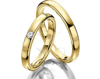 His & Hers Wedding Bands, Matching Wedding Rings Set , 10K 14K 18K Solid Yellow Gold Diamond Wedding Bands