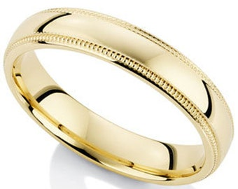 4mm 10K 14K 18K Solid Yellow Gold Mens Wedding Ring, Comfort Fit Shiny Finish Dome Milgrain Mens Wedding Band, His & Hers Wedding Rings