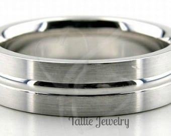 950 Platinum Mens Wedding Bands, Platinum Mens Wedding Rings, 6mm Satin Finish Platinum Wedding Band, Platinum Wedding Ring