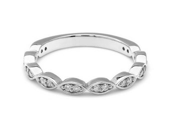 14K White Gold Diamond Wedding Ring / Diamond Eternity Wedding Band / Anniversary Rings / Diamond Eternity Ring