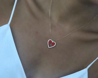 Heart Necklace,14K Yellow Gold Heart Necklace,Red Heart Necklace,Diamond CZ Heart Necklace,Red Enamel Heart Necklace,Love Necklace,Red Heart