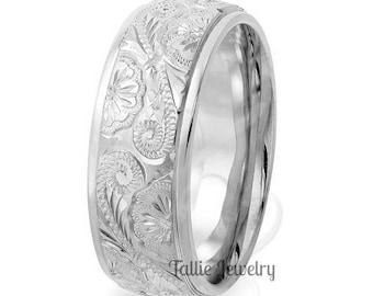 Platinum Hand Engraved Mens Wedding Band, Hand Engraved  Platinum Mens Wedding Ring, 950 Platinum Wedding Band, Hand Engraved Ring
