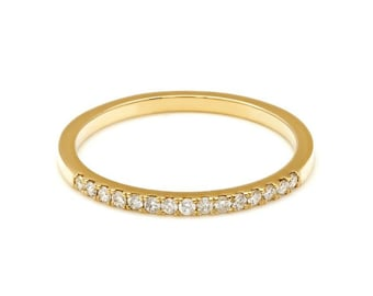 Diamond Eternity Ring, Diamond Eternity Wedding Band, 14K Gold Diamond Wedding Bands, 1.6mm Micro Pave Thin Diamond Wedding Rings